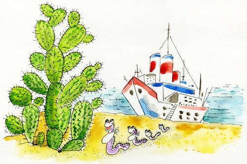 Ребенок рисует кактус