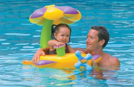 Круг для купания ребенка с навесом Intex «Лодочка»