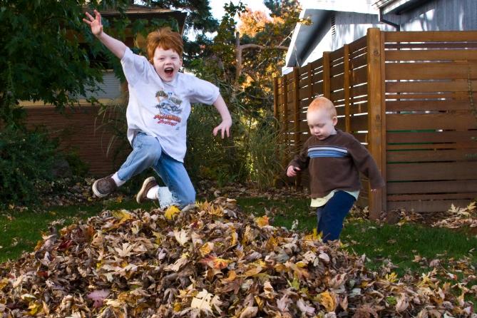 Прыгать с возвышенности в кучу осенних листьев.