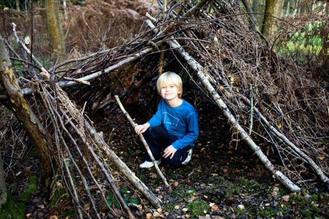 Построить в лесу шалаш из веток