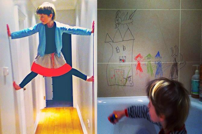 Малышка Эвер умеет лазить по стенам и разрисовывать их
