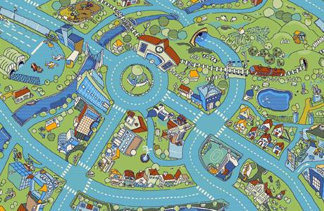 Ковер для детской комнаты «Игрушечный городок»